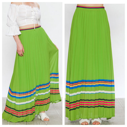 Lime Pleated Maxi Skirt