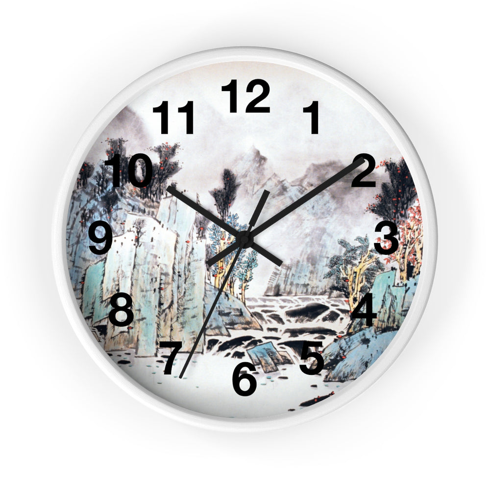 Mountain and Water Wall Clock-White-Zen Art Shop