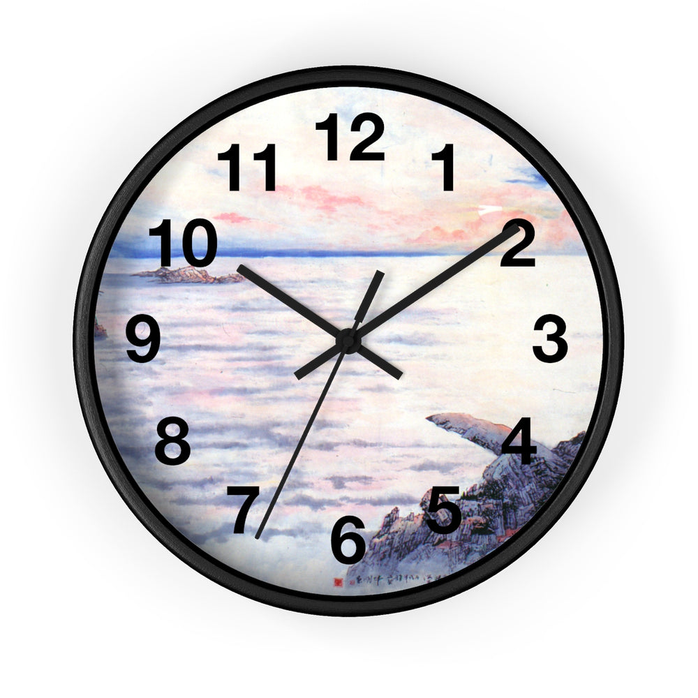 The Sea of Cloud Wall Clock-Black-Zen Art Shop