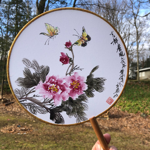 """Lucky Spring Wind"" by Wei Hua, Painted Round Fan-Zen Art Shop"