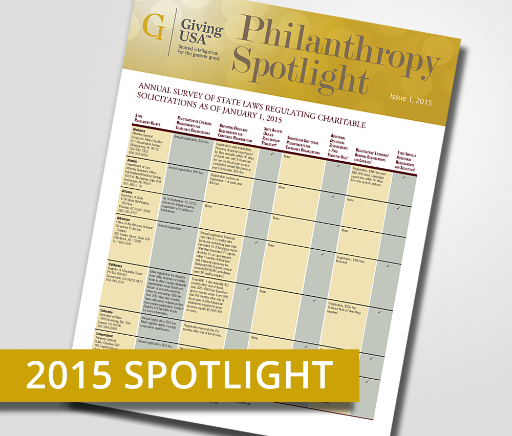 Giving USA 2015 Spotlight: Annual Survey of State Laws Regulating Charitable Solicitations as of January 1, 2015