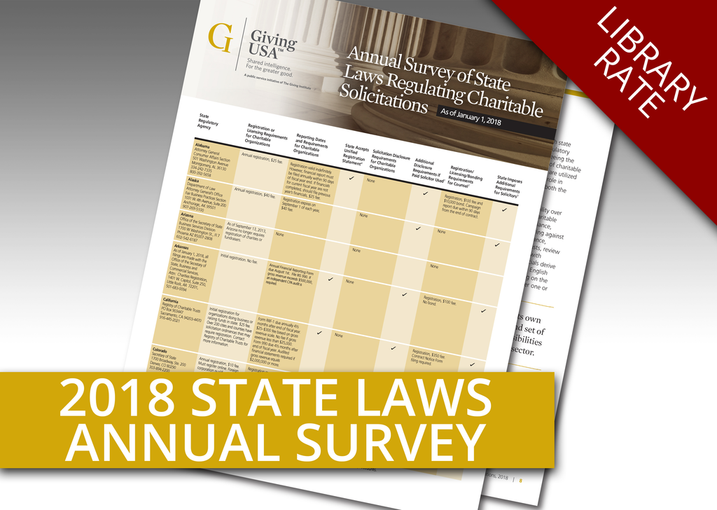 Library Rate for Annual Survey on State Laws Regulating Charitable Solicitations as of January 1, 2018