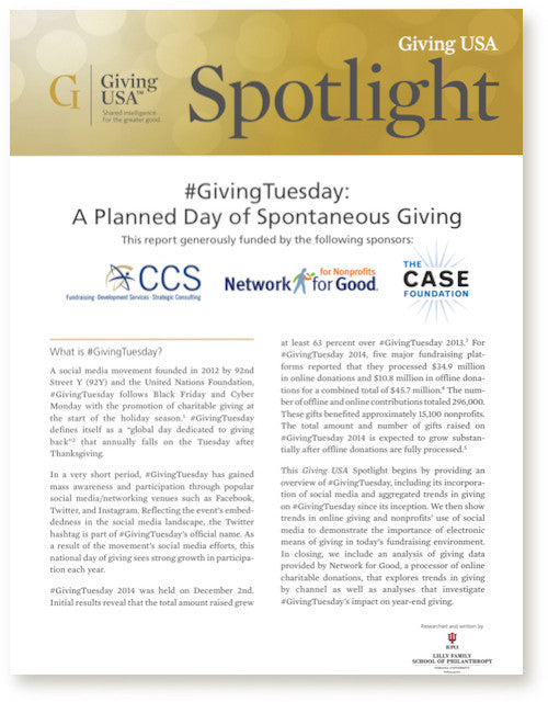 Giving USA 2015 Giving Tuesday Spotlight, December 2014