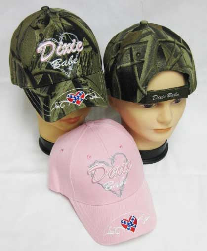 Womens Dixie Babe Rebel Heart HAT Lady CAMO/Girl PINK