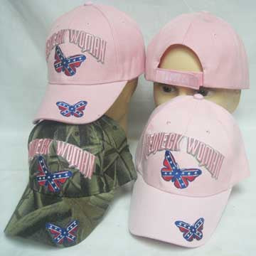 Redneck Woman Rebel Butterfly Cap HAT Lid Ballcap Viser - Comes in Lady CAMO or Girl PINK