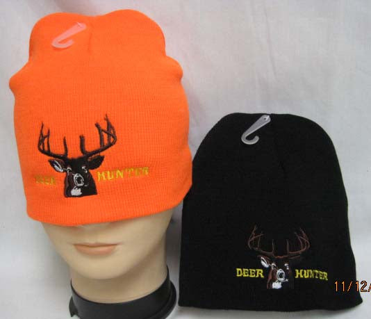 Deer Hunter Beanie Hat Black or Blaze Orange