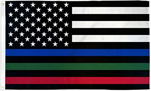 Thin Blue/Red/Green Line USA 3 x 5 Poly Flag, Multicolored Lines 3'x5'