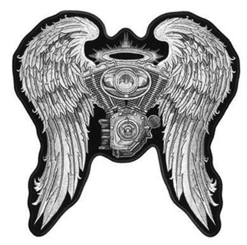 Large 10 inch Engine with Wings Embroidered Bikers Jacket Patch