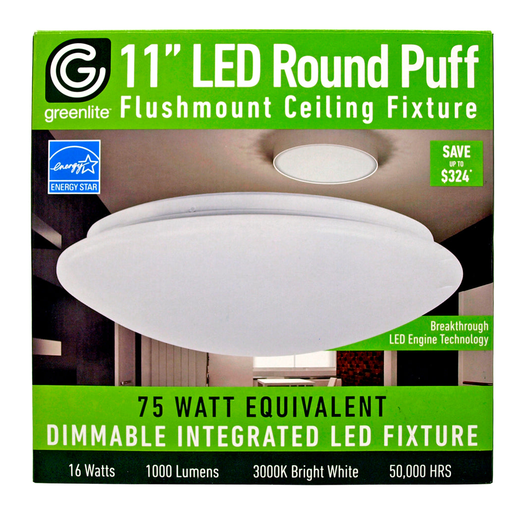 Flushmount Ceiling Fixture with Integrated LED 16W 1000 Lumens