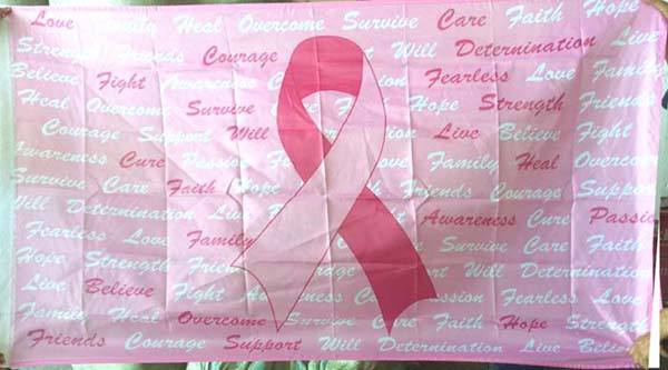 Pink Ribbon w/ Inspiration Words Flag 3' x 5'