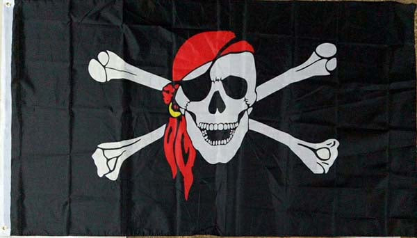 Deluxe Pirate Jolly Roger Flag II 3x5 Display 3 x 5