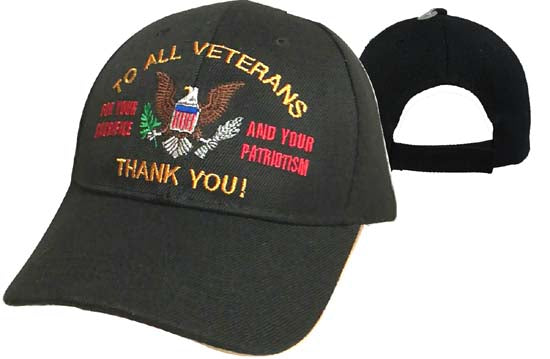 Deluxe - To All Veterans Thank You - HAT - Adjustable - Baseball Cap Lid Cover