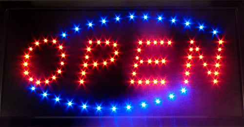 110 volt LED OPEN Sign - Flashing Oval OPEN Sign 10