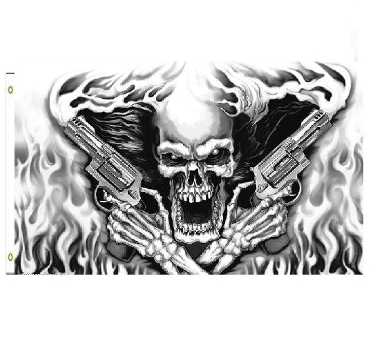 Skull with Flames and Smoking Six Shooters Guns Pistols 3 x 5 Black and White Display Flag