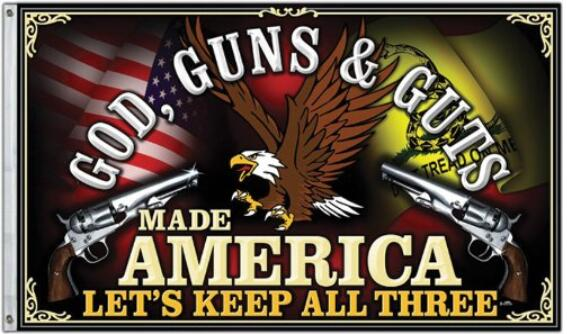 GOD GUNS & GUTS Made America - Let's Keep All Three - Flying Eagle 3 x 5 - Flag