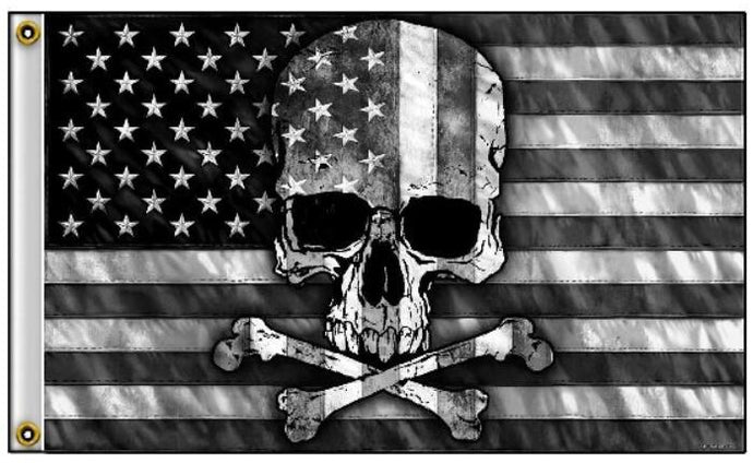 Skull and Cross Bones with USA Flag 3 x 5 Color Scale Black Gray And White