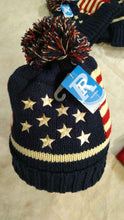 Americana patriotic toboggan flag hat blue white stars red white stripes adult size
