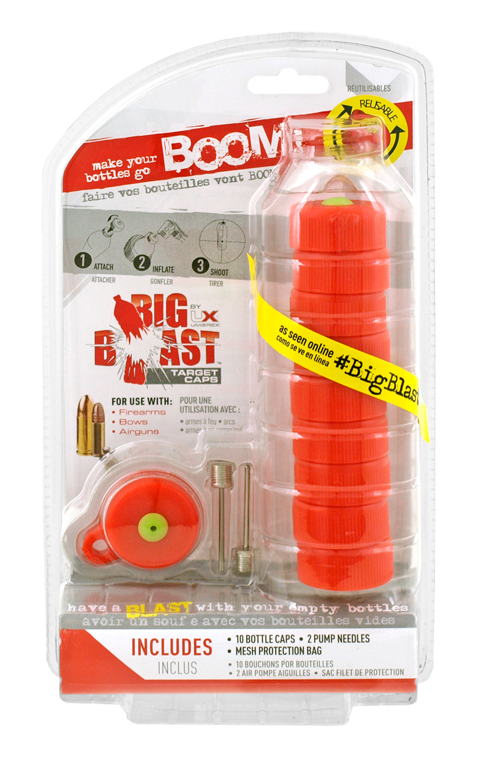 10pc Big Blast Plastic Bottle Top Cap BOOM Targets