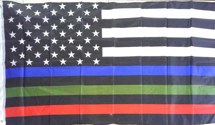 Blue Red Green Thin Lines USA American First Responders Honor Flag 3'x5'