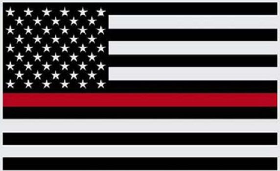 Thin Red Line Flag - 3X5 - Black White and Red American Flag Honoring Firefighters