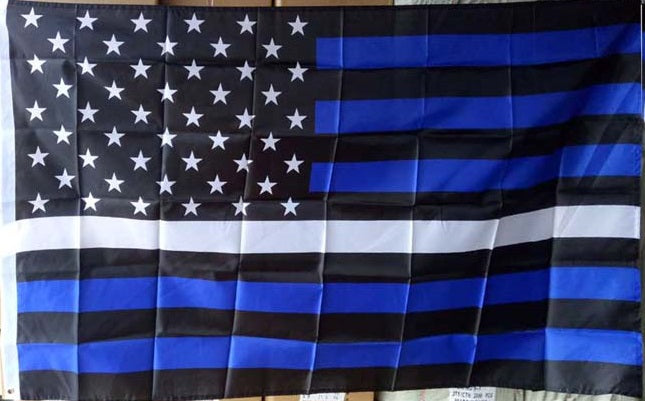 EMS Thin White Line on USA Flag with Blue Lines 3x5