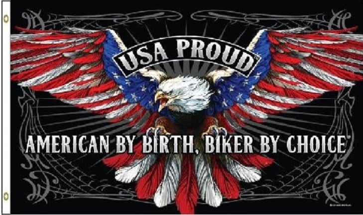 USA PROUD - American By Birth - Biker By Choice 3' x 5' Flag 3x5