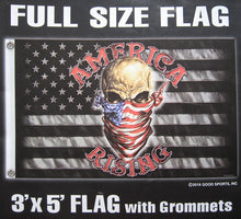 America Rising - B&W American USA Flag - Skull with Face Mask 3ftx5ft