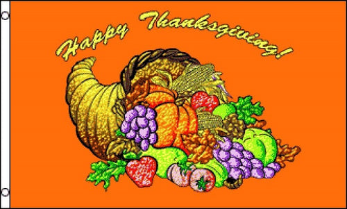 Happy Thanksgiving Day - Cornucopia - Fall Flag/Poster/Banner 3x5