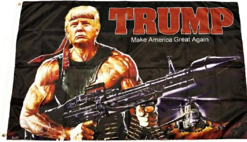 Donald J 2020 Bazooka Flag 3x5 RAMBO TRUMP MAGA #050a Machine Gun