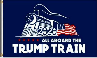 TRUMP TRAIN ALL ABOARD THE FLAG Full Sized 3' x 5'