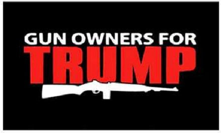 Gun Owners For TRUMP - 3'x5' Full Sized Flag 3 x 5