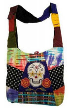 Sugar Skull Purse Cross Body Hobo Tie Dye Bag w/Smart Phone Pocket- Handcrafted