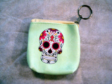Sugar Skull Cute Coin Purse With Key Chain Ring Zipper Pull