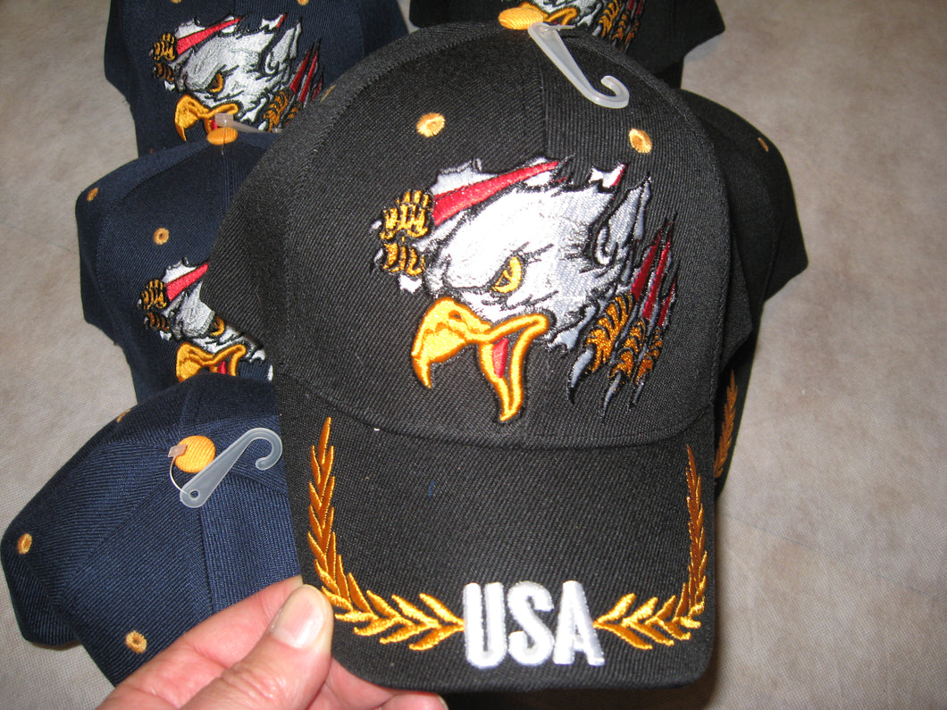 American Eagle Hat USA & Gold Wings on Brim Cap Hat