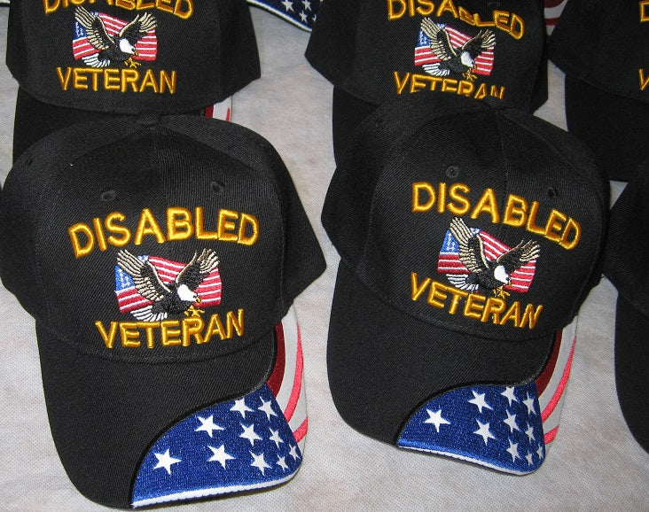 Disabled Veteran Hat - Vets Cap USA FLAG on Brim