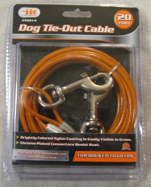 20' Dog Tie-Out Vinyl-Coated Galvanized Wire Cable - to 60lbs - Metal Swivel Snaps