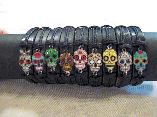 Sugar Skull Faux Leather Bracelet - Unisex