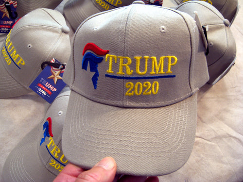 TRUMP 2020 -#45 Donald J Silhouette of - Ball Cap Hat Lid - GRAY