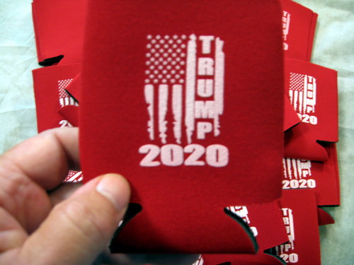 Can Cooler Sleeve Coozie TRUMP 2020 Distressed Flag Neoprene