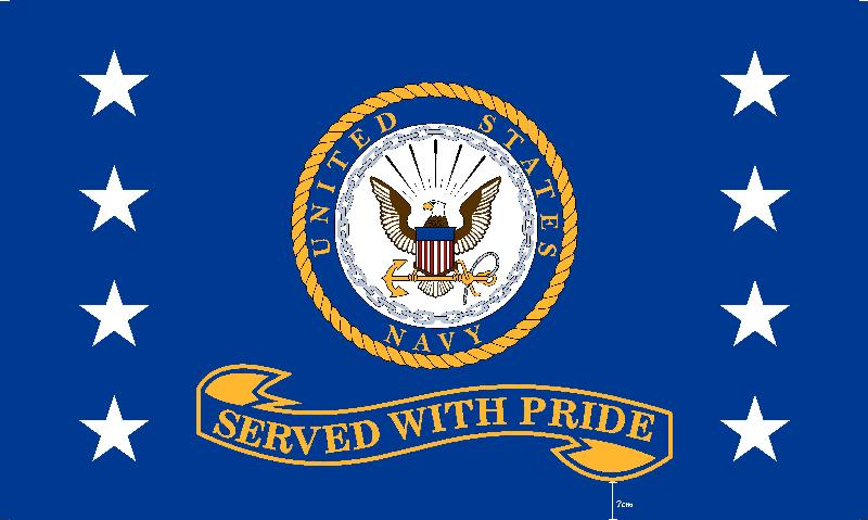 Served with Pride Navy 3'x5' Screen Print Polyester Flag