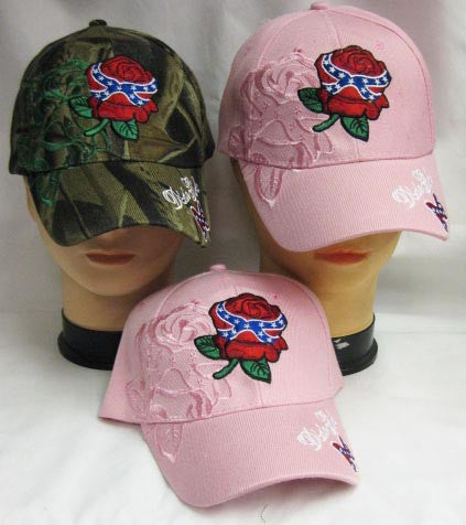 Deluxe Red Rose Dixie Girl Rebel South Blue Stripes and Stars Ball Cap