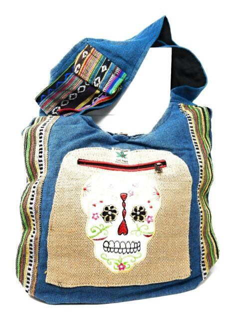 Sugar Skull Hemp Hobo Bag Purse Cross Body Cotton Hand Crafted