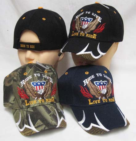 Embroidered Hat Motorcycle Ride To Live Live To Ride Bikers Cap Lid Cover