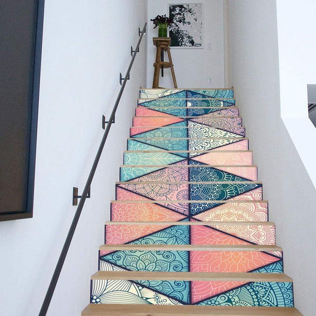 13 Piece Bright Geometric, Marbled Stair Stickers Wall Sticker