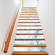 "13 Piece Bright Geometric, Marbled Stair Stickers Blue Marble / 11""x40"" Wall Sticker"