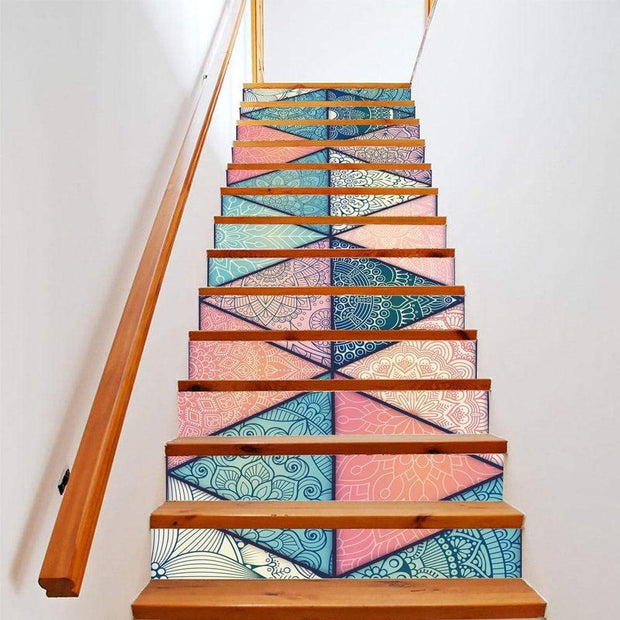 "13 Piece Bright Geometric, Marbled Stair Stickers Geometric / 11""x40"" Wall Sticker"