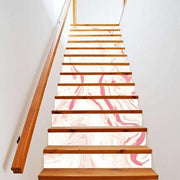"13 Piece Bright Geometric, Marbled Stair Stickers Pink Marble / 11""x40"" Wall Sticker"