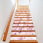 "13 Piece Bright Geometric, Marbled Stair Stickers Purple Marble / 11""x40"" Wall Sticker"