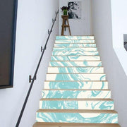 "13 Piece Bright Geometric, Marbled Stair Stickers Teal Marble / 11""x40"" Wall Sticker"