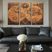 3 Panel Wall Art Decor of A Vintage World Map on Canvas Poster Canvas